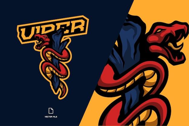 赤いヘビと木製のマスコットのロゴイラストテンプレート