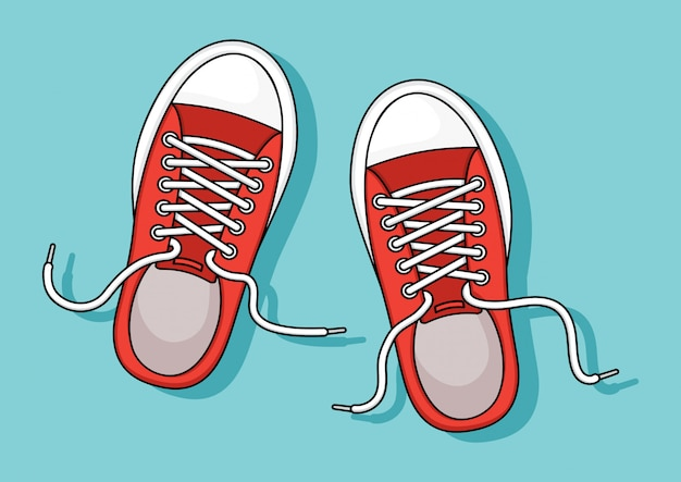 Red sneakers on blue background.   illustration