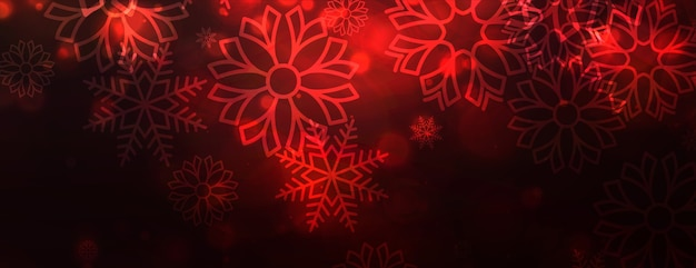 Red snowflakes shiny banner for merry christmas