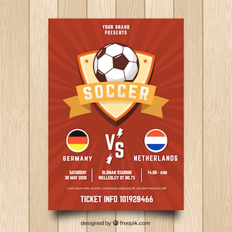 Red soccer flyer template