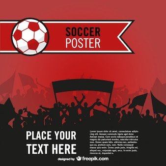 Red soccer poster with people silhouettes