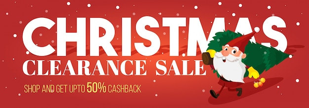 Red social media sale banner for christmas festival