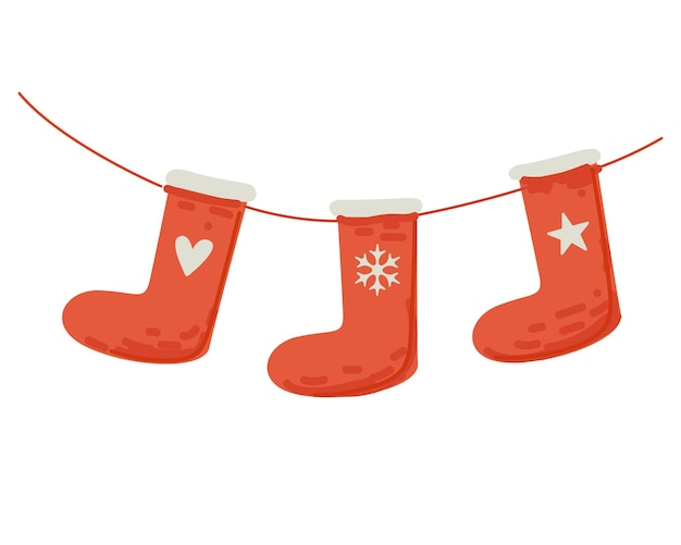 Red socks for merry christmas gifts hang on thread holiday decoration sock set for present drawing