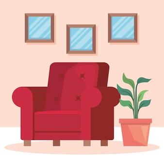 赤いソファと観葉植物