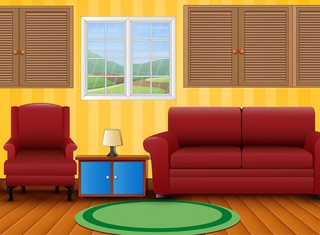 Красный диван и тумбочка в комнате