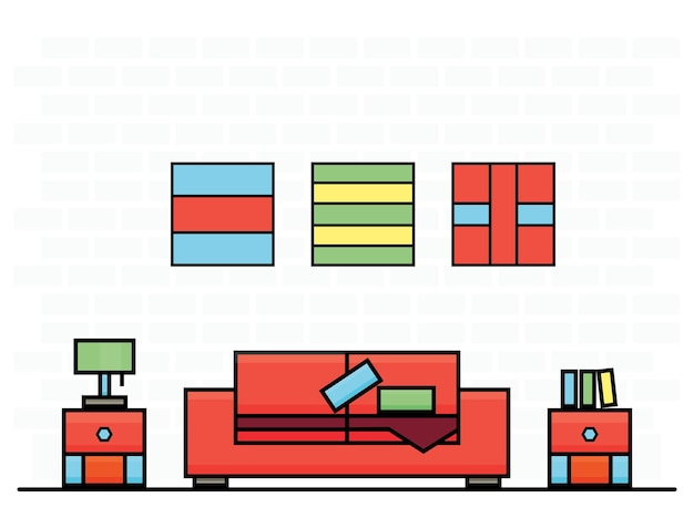 Red sofa with two curbstones. vector illustration. room interior.