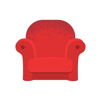 赤い柔らかいアームチェア。ベクトルレトロなソファのイラスト、インテリア家具。古い居心地の良いソファ席。