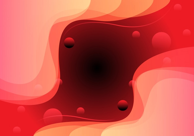 Red soft curve bubble sweet design modern background.