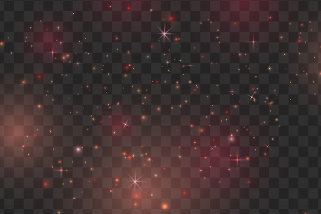 Red sparks and stars glitter special light effect. vector sparkles on transparent background. christmas abstract pattern. sparkling magic dust particles