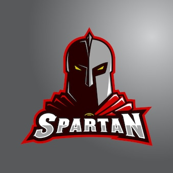 Red spartan with wordmark e-sport logo