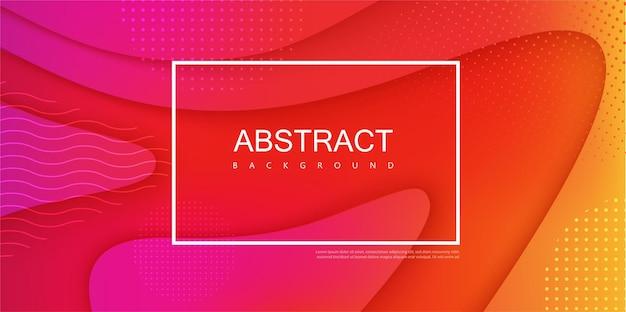 白いフレームと抽象的な波状パターンの赤いスペクトルバナー