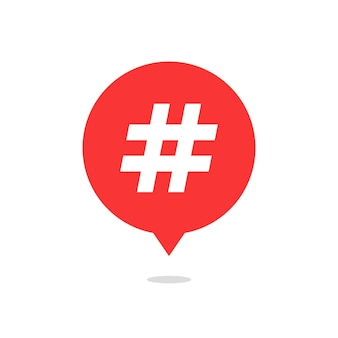 Red speech bubble with hash tag and shadow. concept of number sign, social media, micro blogging, pr, popularity. isolated on white background. flat style trend modern logo design vector illustration