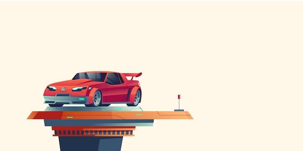 Красный спортивный автомобиль на футуристической выдвижной платформе