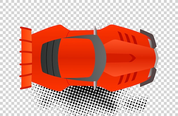 Red sport car top view vector illustration.