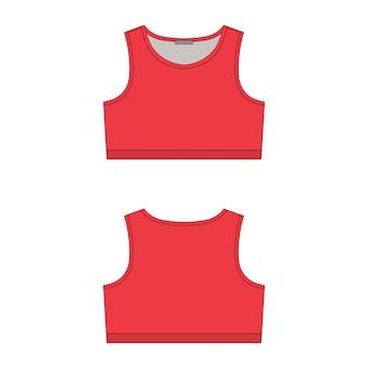 白い背景の赤いスポーツブラテクニカルスケッチ。女性のヨガ下着のデザインテンプレートです。