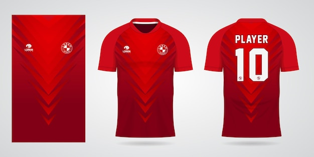 Red sports jersey template for team uniforms and soccer t shirt design