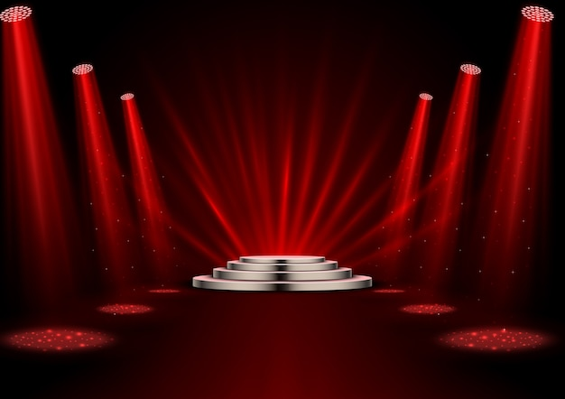 Red spotlights with white podium on dark background