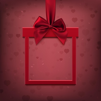 Red, square banner in form of gift with red ribbon and bow, on blurred background with hearts and bokeh. vector illustration.