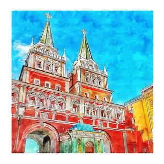 붉은 광장 모스크바 러시아 수채화 스케치 손으로 그린 그림