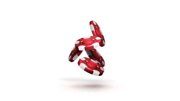 흰색 배경에 고립 된 그림자와 함께 떨어지는 카지노 칩의 빨간색 스택