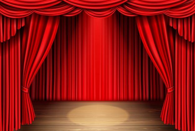 Красный занавес для театра, драпировки оперной сцены