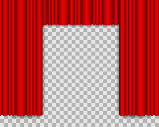 Красный сценический занавес реалистичная иллюстрация