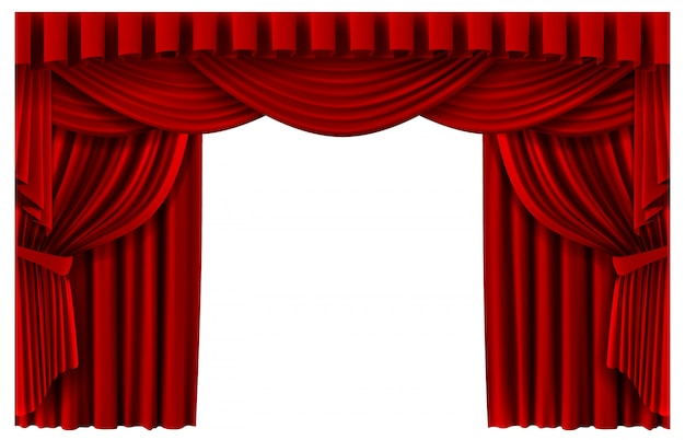 Red stage curtain. realistic theater scene backdrop, cinema premiere portiere drapes, ruddy ceremony curtains  template illustration. red curtain to show premiere, stage realistic entrance