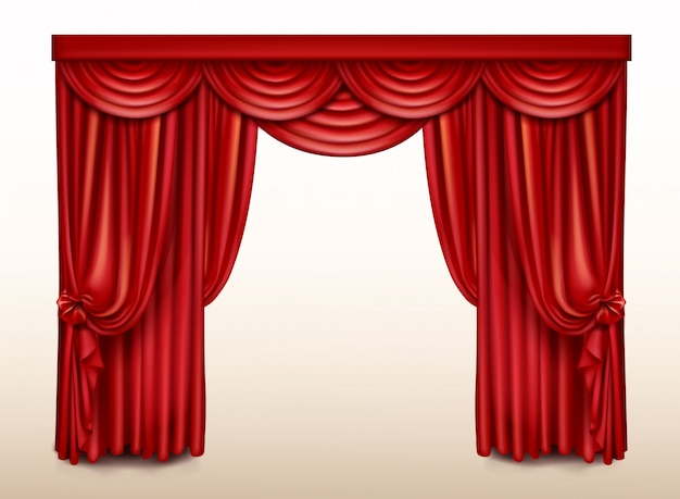 Red stage curtain for theater, opera scene drape
