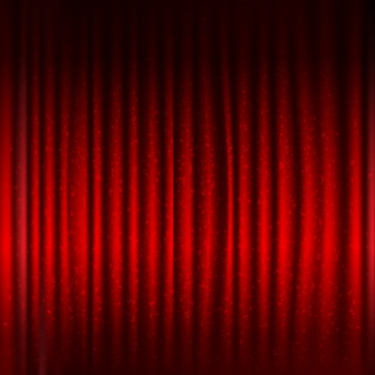 Red stage curtain with black border and glitter with gradient mesh,  illustration