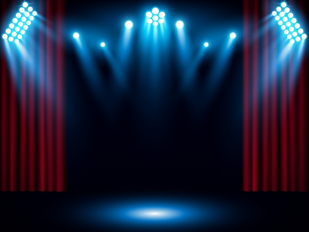 Red stage curtain with blue spotlight