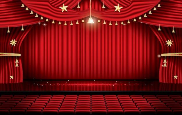 座席付きの赤いステージカーテン。劇場、オペラ、映画のシーン。