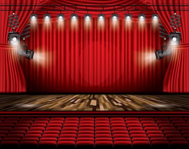 スポットライト、座席、コピースペースを備えた赤いステージカーテン。ベクトルイラスト。劇場、オペラ、映画のシーン。床に光を当てる。
