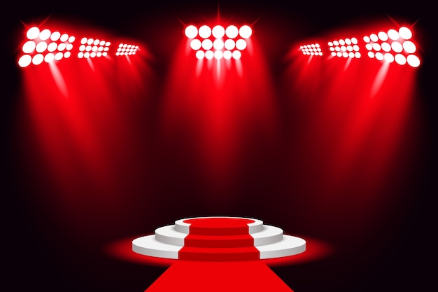 Red stage light podium spotlight with red carpet