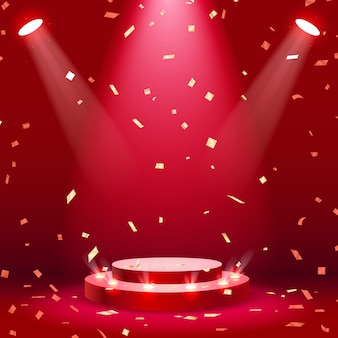 Red stage podium with spotlight and confetti background