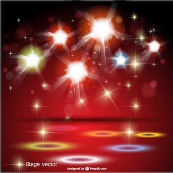 Red stage with sparkling lights