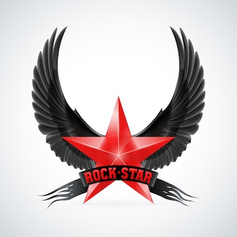 Red star with rock star banner and wings