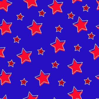 파란색 배경 원활한 패턴 벡터 일러스트 레이 션에 빨간 별