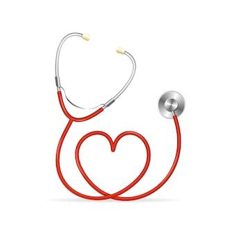 Красный стетоскоп в форме сердца