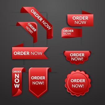 Красные наклейки заказа сейчас продвижение