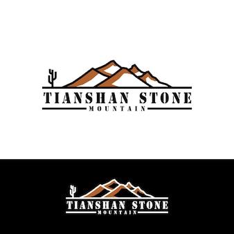 Красный камень горы простой логотип с кактусом