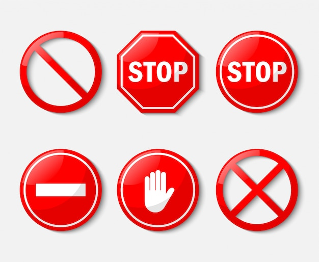 Red stop sign. no sign icon set isolated