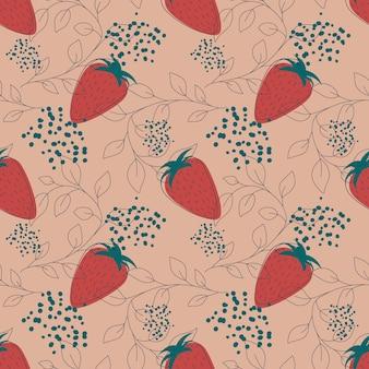 ベージュの背景に赤いイチゴフルーツシームレスパターンベクトル図無限パターン