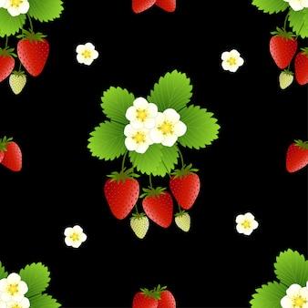 빨간 딸기와 꽃 원활한 패턴