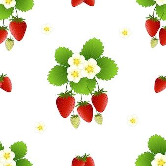 赤いイチゴと花のシームレスパターン