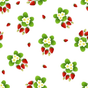 Red strawberry and flower seamless pattern