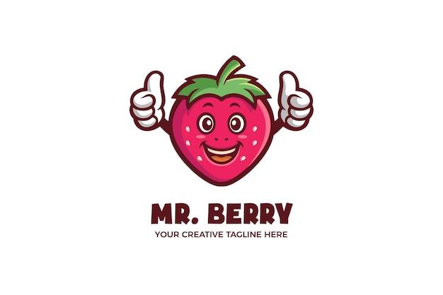 Red strawberry fruit cartoon mascot logo template