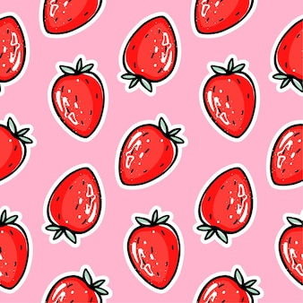 赤いイチゴのシームレスなパターン。ベリーリピートバックグラウンド。夏のフルーツプリント。かわいい漫画のスタイル。包装紙、包装、布のカラフルなイラスト。