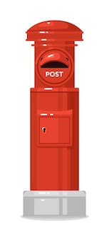 Red street english post box isolated