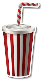 Red striped paper cup with straw sticker on white background