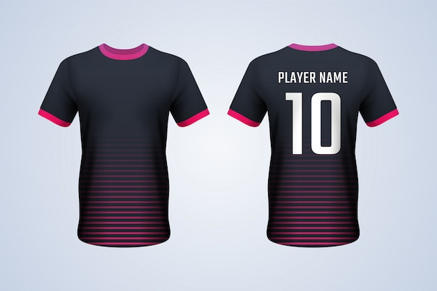 Red strips soccer jersey template